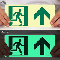 Glow-in-the-Dark Directional Exit Up Arrow Sign
