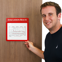 Glow-in-the-dark Evacuation Map Sign Holder