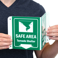 Safe Area Tornado Shelter Signs with Down Arrow