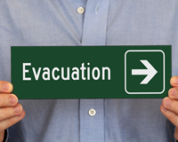 Evacuation Signs with Right Arrow Symbol