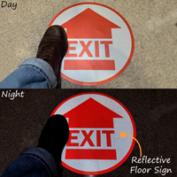 "Exit Arrow 17"" Diameter SlipSafe™ Floor Sign"