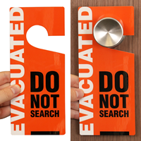 Evacuated Do Not Search Hang Tag