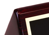 Piano-hard wood finish makes this nameplate both impressive, and easy to clean.