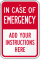 Custom In Case Of Emergency Label, Add Own Instructions