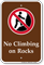 No Climbing On Rocks Campground Sign