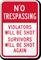 No Trespassing - Violators Will be Shot Sign