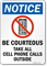 Be Courteous Take All Cellphone Calls Outside Sign