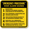Emergency Procedure When Alarm Sounds Sign